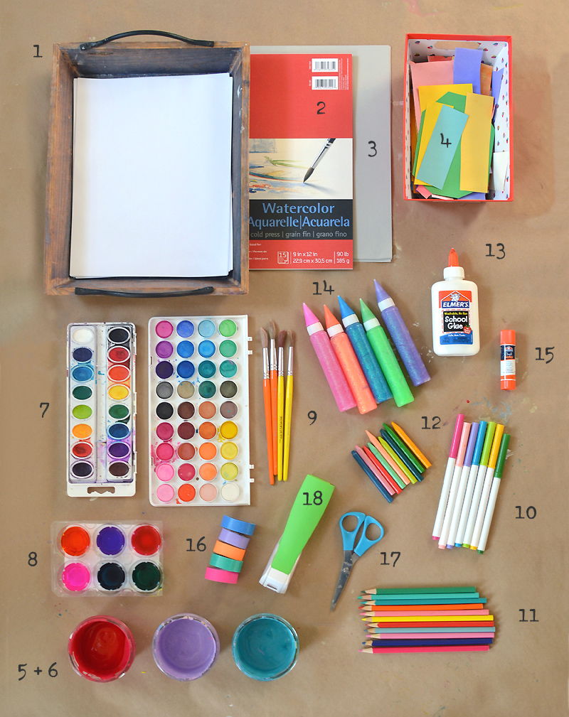 My list from my book of the 18 most basic supplies that you will need to fill your art shelves.