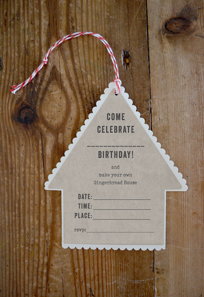 Printable FREE Gingerbread House Party Invitation
