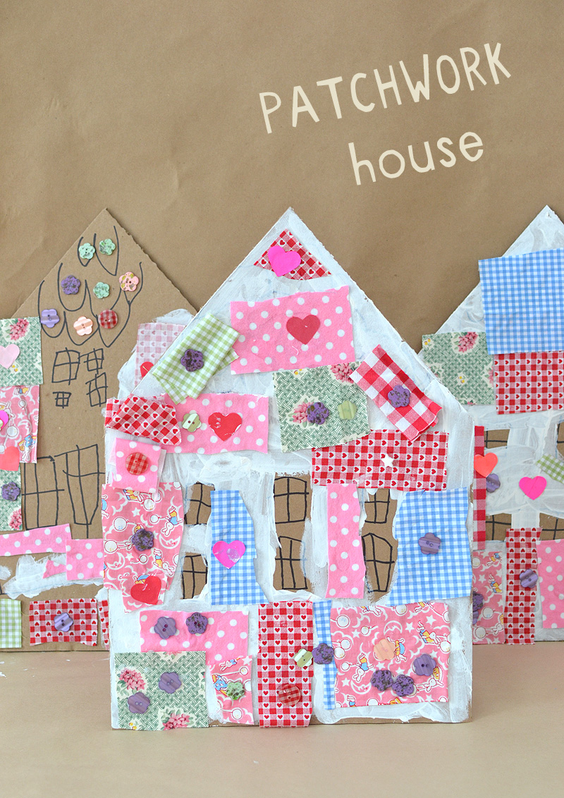 fabric craft ideas for kids patchwork houses with cardboard and collage artbar 6535