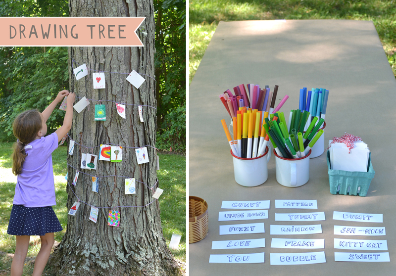 Set up an invitation to draw with a basket of drawing prompts, some paper, coloring markers, and a big old tree! A wonderful community project.