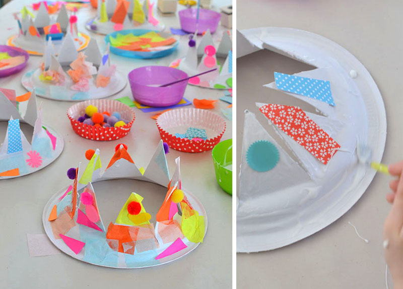 Turn a paper plate into a party crown!