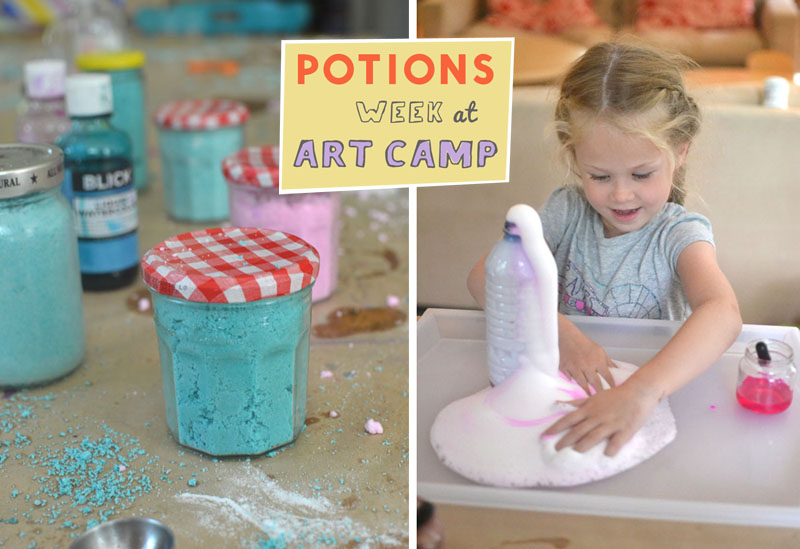 Kids spend a whole week at art camp making all sorts of potions and messy play.