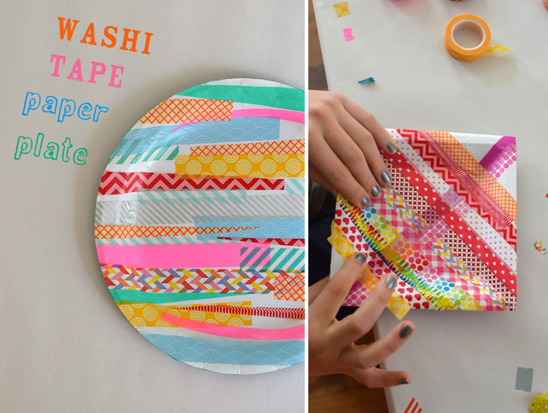 Decorate paper plates with wash tape and seal with mod podge to make a little tray.