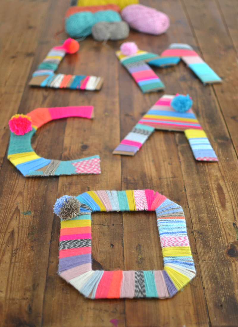 craft ideas with wool yarn wrapped cardboard letters artbar 3995