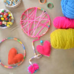Making dreamcatchers with kids