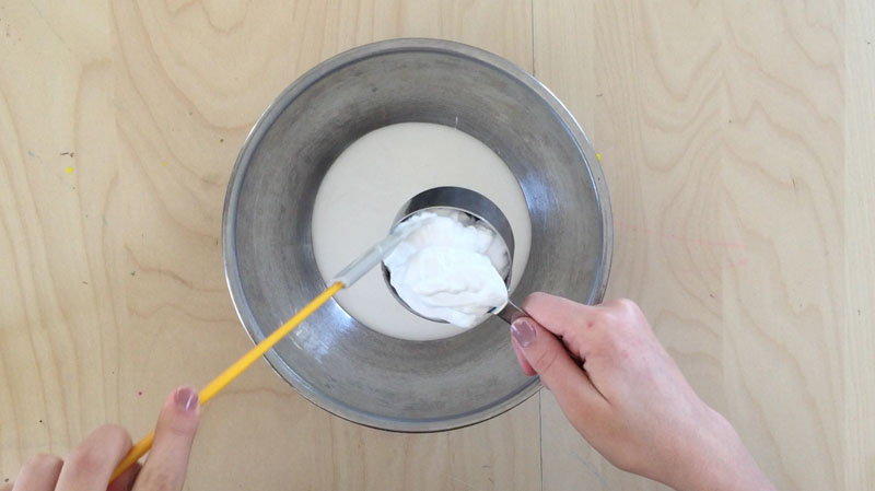 Make this smooth and fluffy slime with shaving cream and glue.