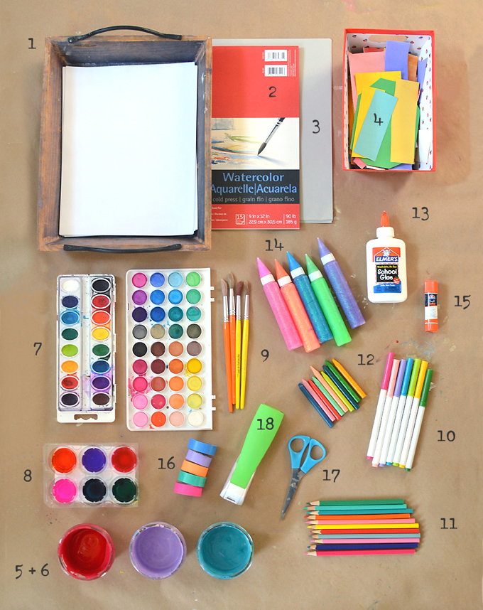 The best beginner art supply list to kickstart your child's creative life.