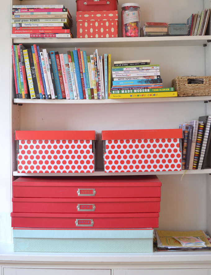 Use big boxes to store your child's art.