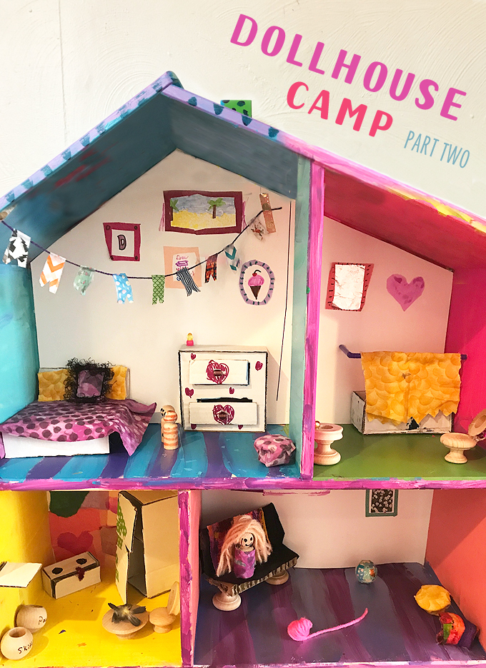 Dollhouse Camp for kids! Handmade wallpaper and furniture for these IKEA dollhouses in PART TWO of the dollhouse camp series.