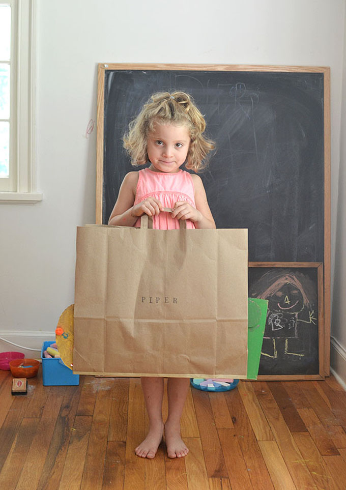 Make portfolios from paper bags to store your child's art.