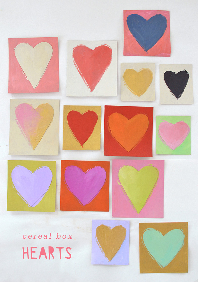 Use cereal box cardboard and acrylic paint to make little works of heart art.