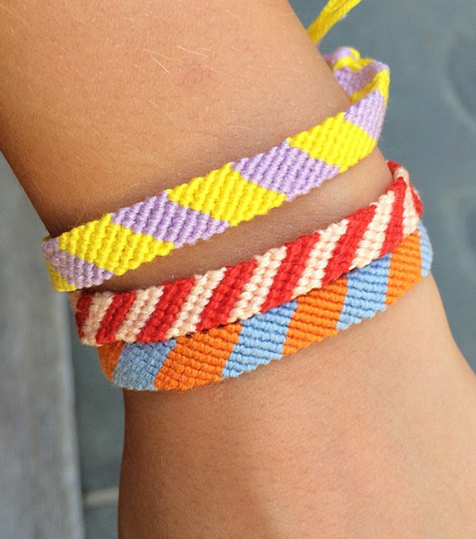 Make friendship bracelets with embroidery floss. Old school craft for teens and tweens.