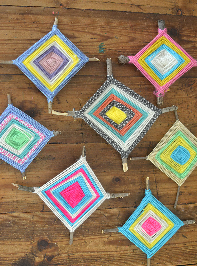 Make a God's Eye from twigs and yarn. Old-school craft great for kindergartners through to teens and tweens, and even adults!