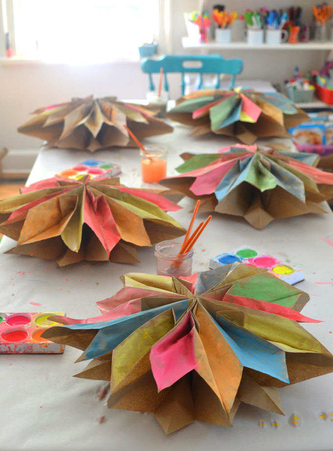 Make giant stars from paper lunch bags, then paint with tempera cakes. Perfect craft for teens and tweens.