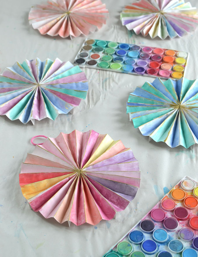 Make paper pinwheels and paint with watercolors. Great art activity for teens and tweens.