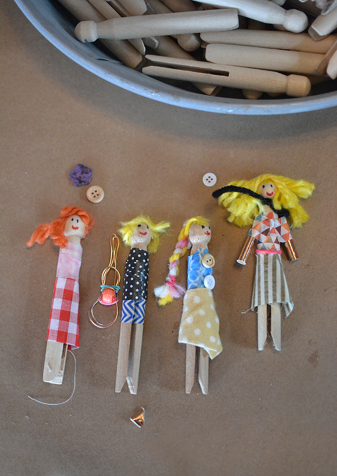 Making clothespin people at the Shop Up in Brooklyn, NY.