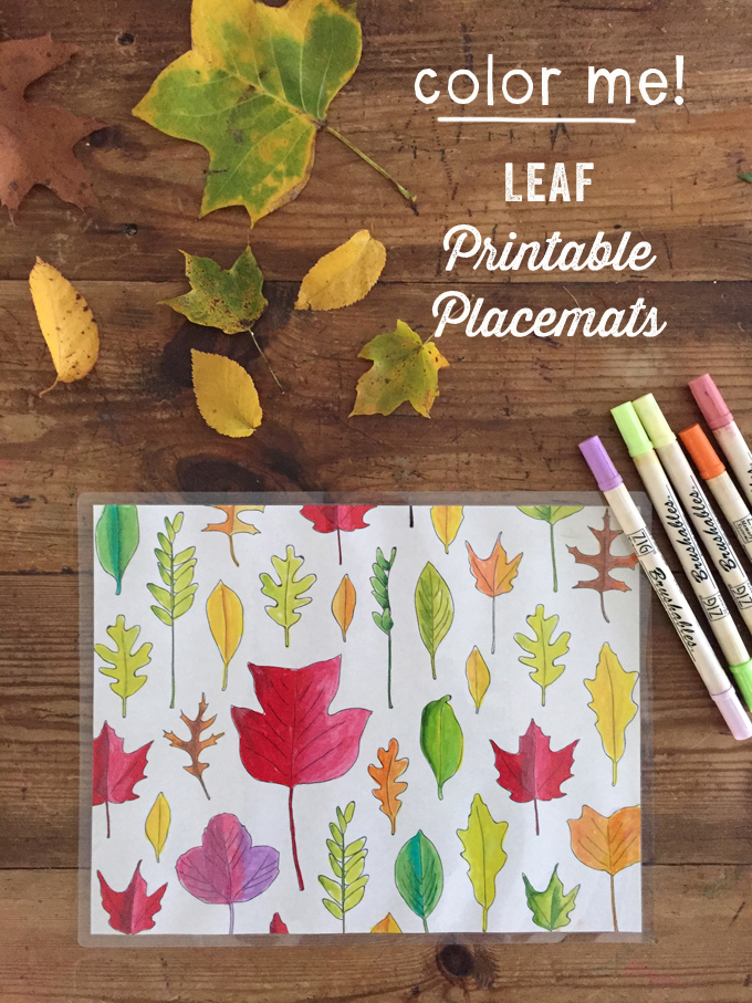 Print out these free leaf coloring pages and laminate them for beautiful Fall placemats.
