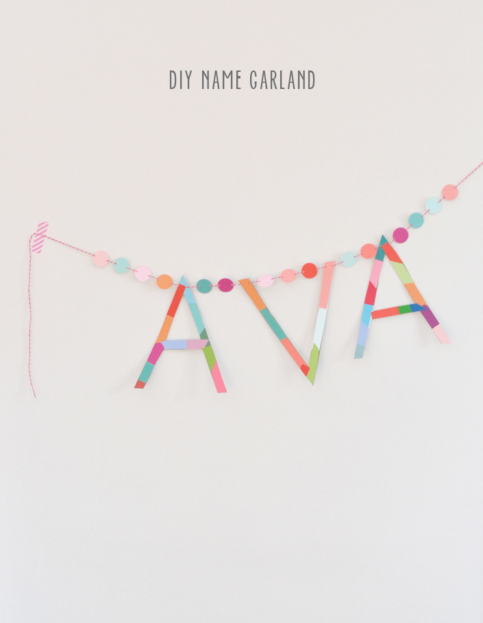 Make a name garland from paint chips and cardboard.