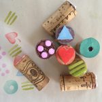 Make simple rubber stamps from wine corks and craft foam.
