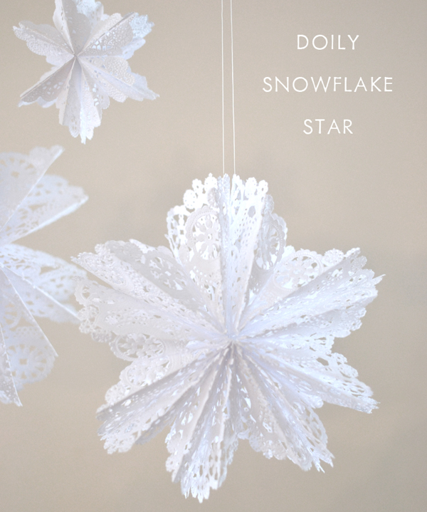 Make beautiful, delicate snowflakes from gluing doilies together.
