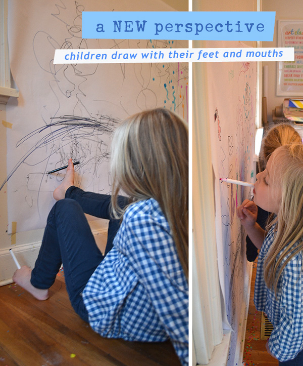 Kids use their feet and mouths to draw, giving them a new perspective.