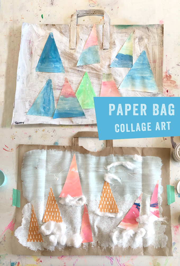 Kids make wintery collages from paper bags.