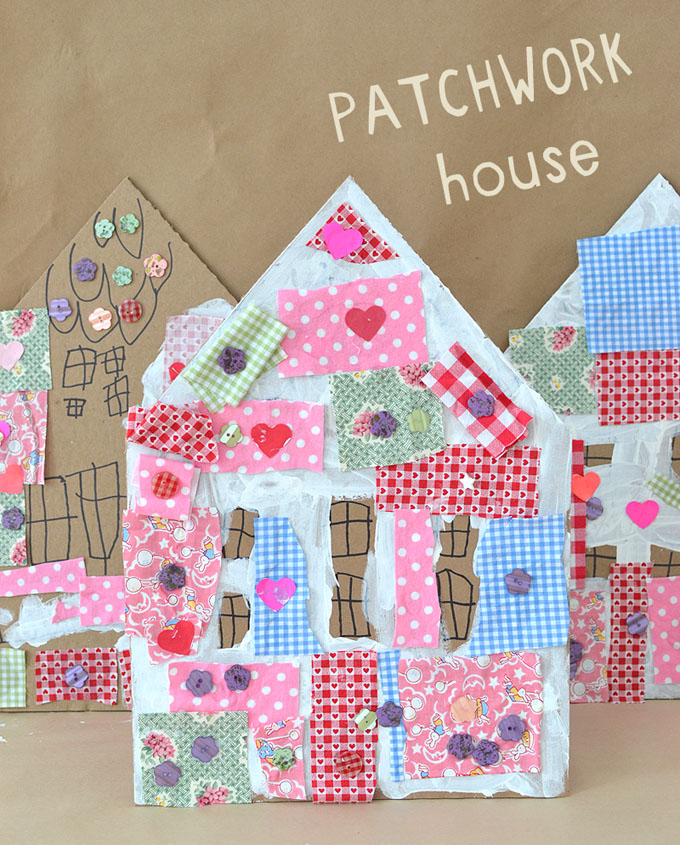 Kids make patchwork houses from cardboard.