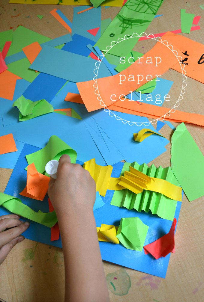 Kids make 3D sculptures from scrap paper.