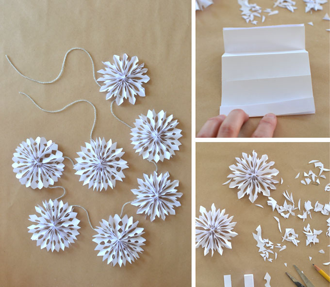3D paper snowflakes made into a garland.