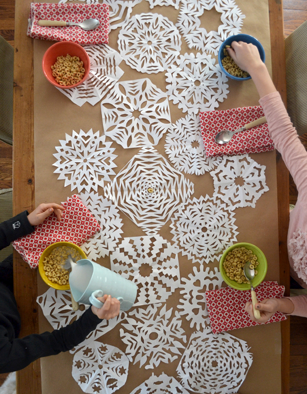 Make a paper snowflake table runner.