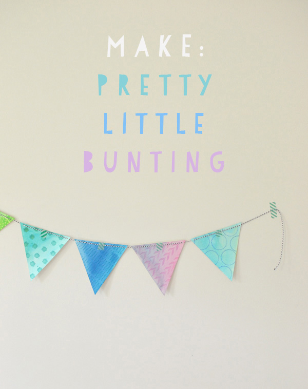 Bunting made from watercolor and rubber stamps.
