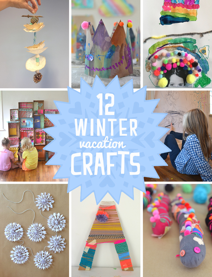 12 open-ended crafts for kids to do over winter vacation using mostly recycled materials.