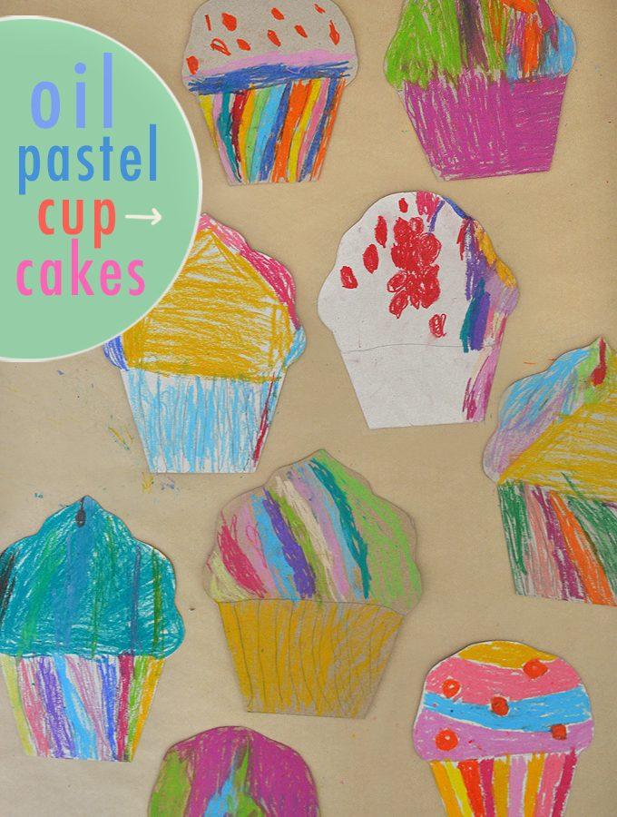 Oil Pastel Cardboard Cupcakes
