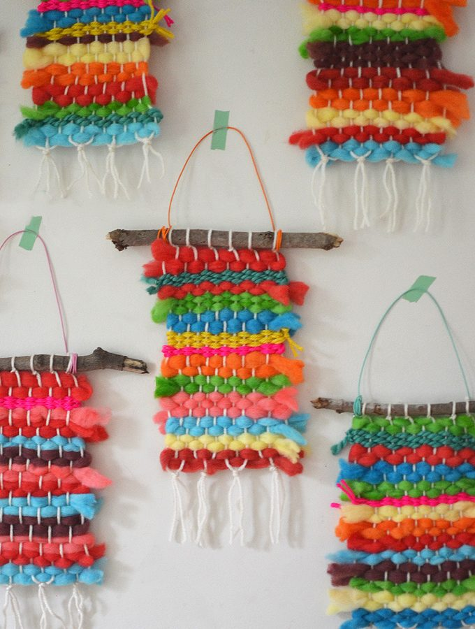 Rainbow Weavings with Koolaid Dyed Yarn