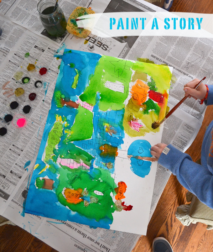 Let your child draw and paint a story from their imagination.