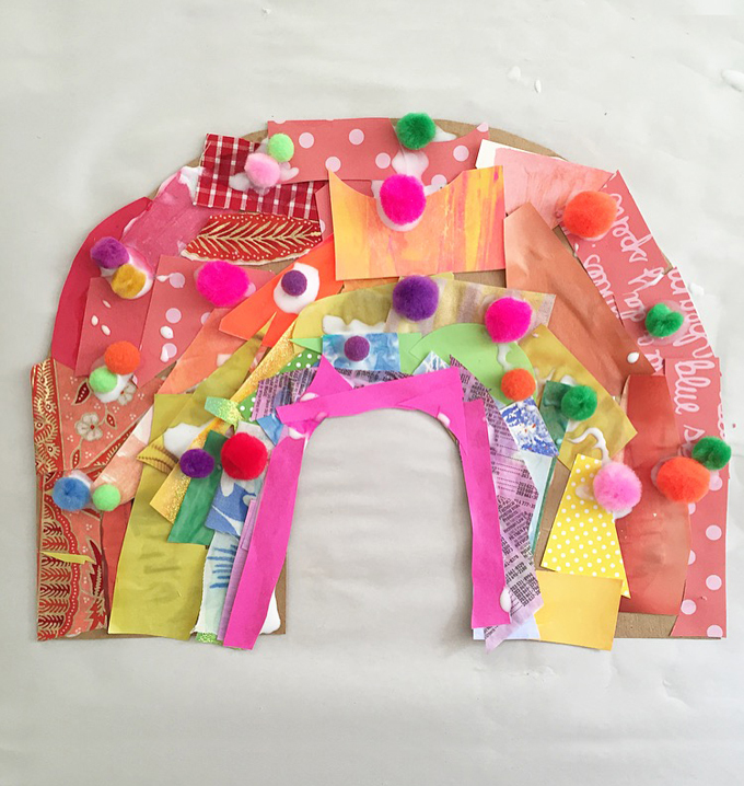 Kids make rainbows from cardboard and collage material.