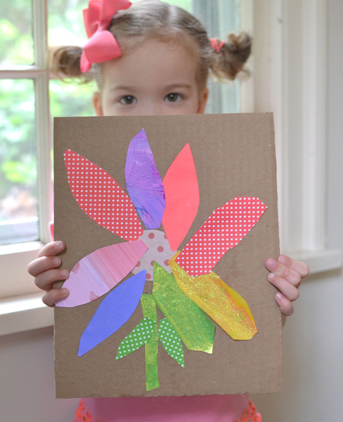 Kids make rainbow flowers and practice their cutting skills.