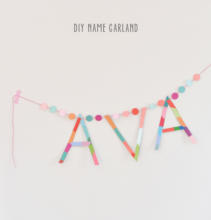Name garland made with paint chips.