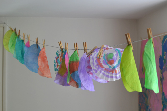 Kids paint and cut coffee filters to make this colorful Cinco de Mayo garland.