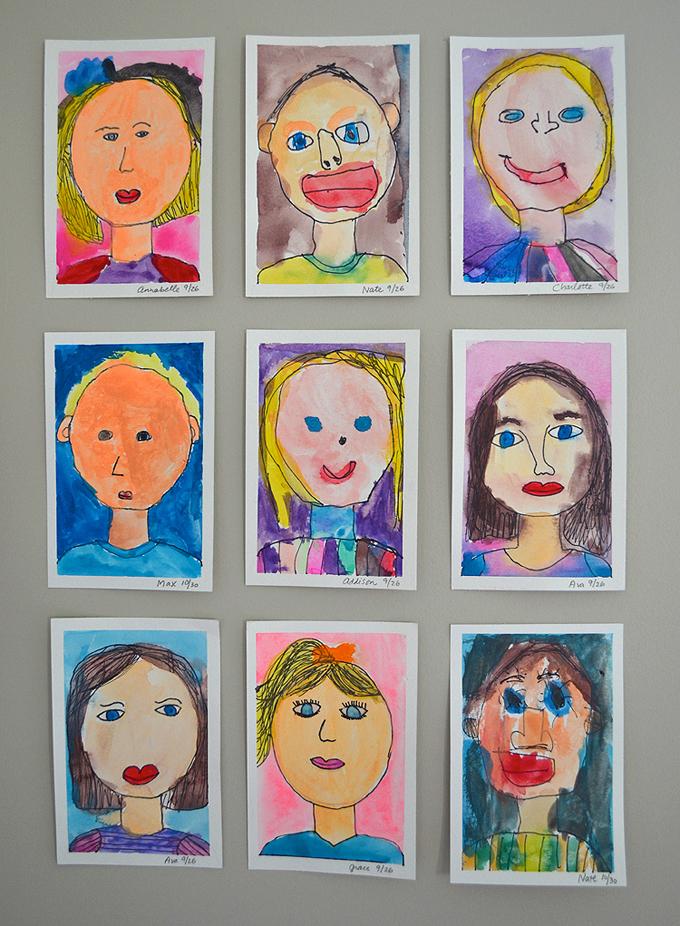 Mini Self-Portraits by preschoolers.