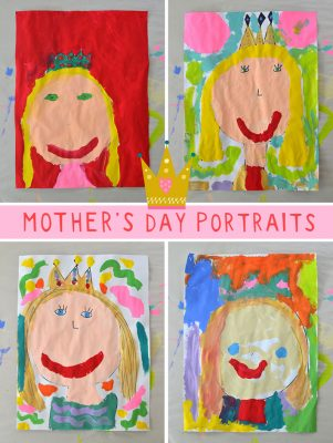 "All you need is paint and paper to make these endearing Mother's Day ""Queen"" portraits!"