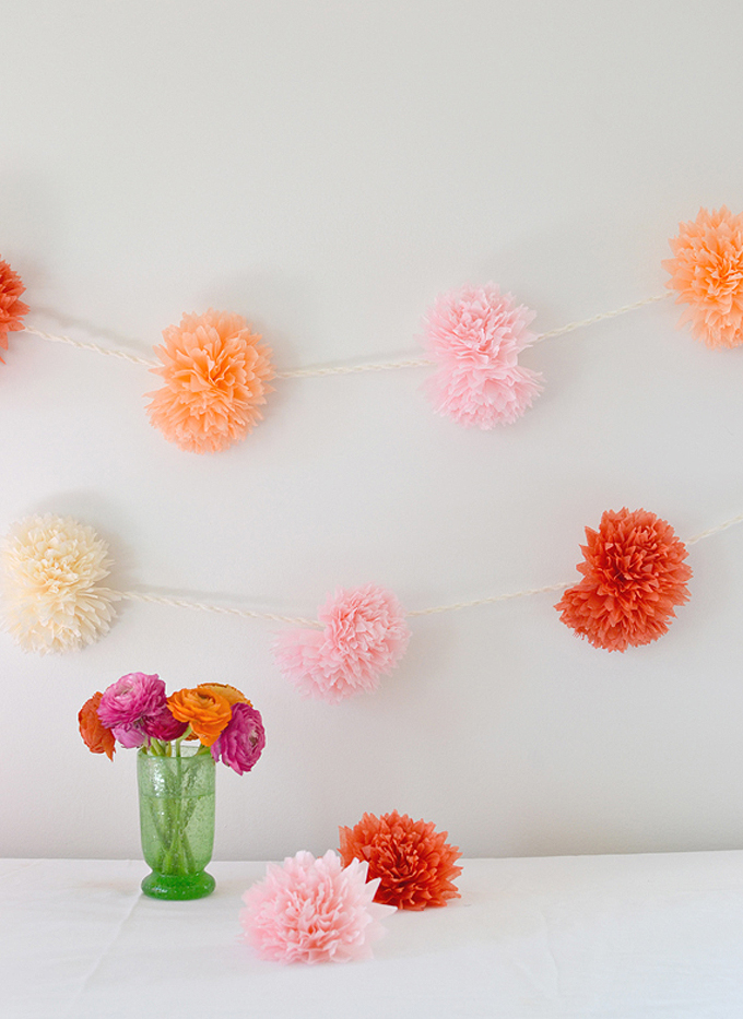Tissue paper flower garland.