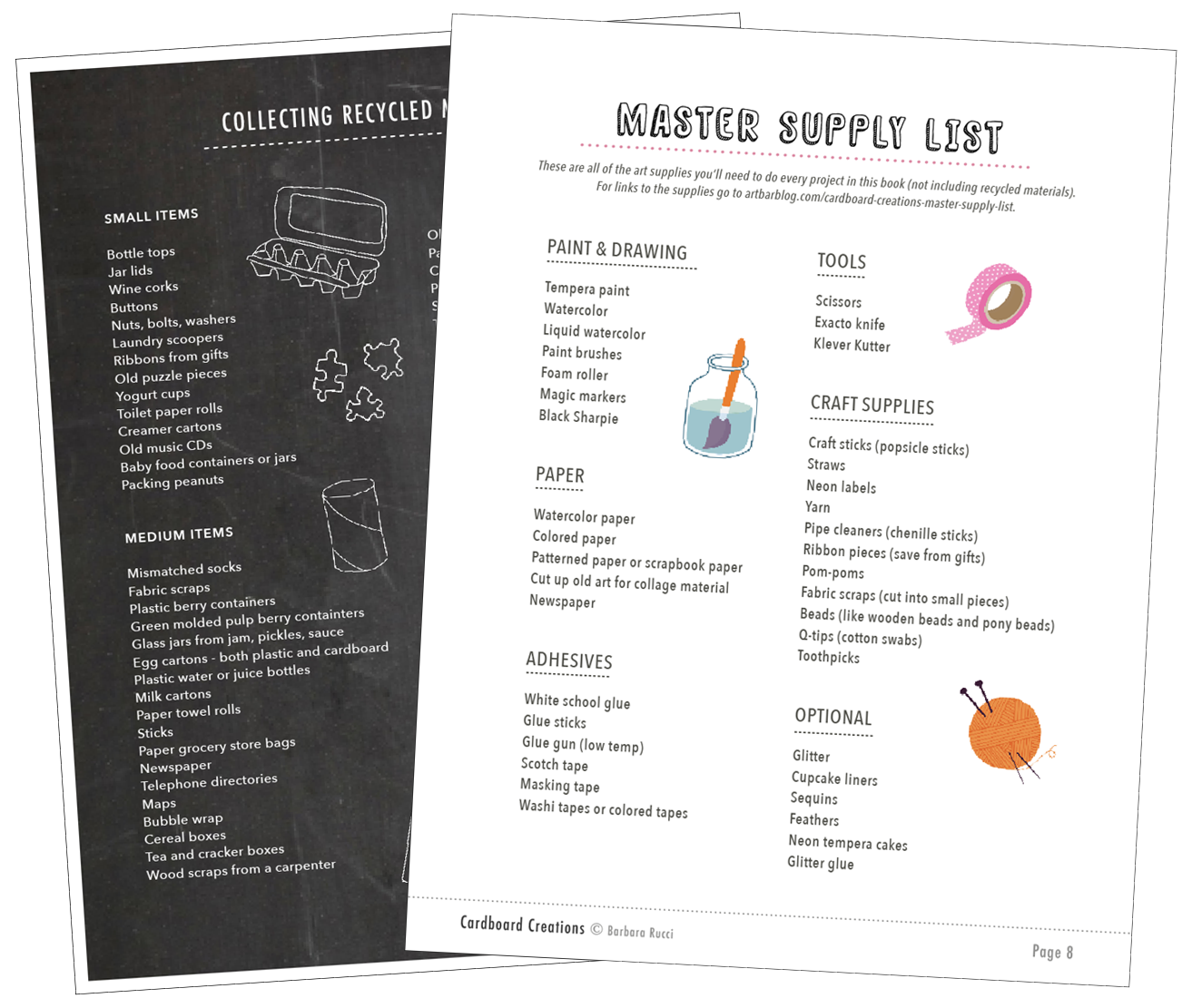Master supply lists from Cardboard Creations by Barbara Rucci
