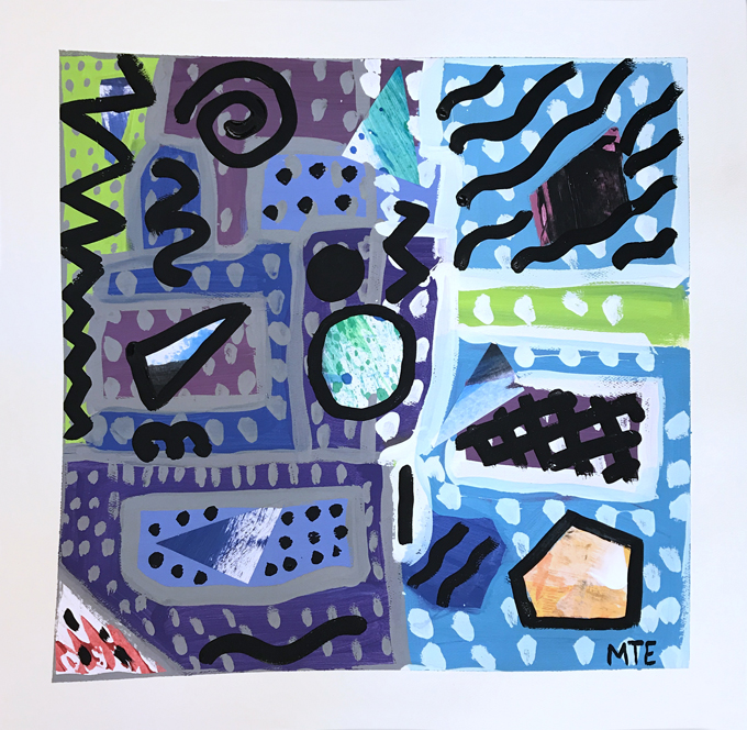 How to make layered abstract paintings with kids using warm and cool colors and a little collage.