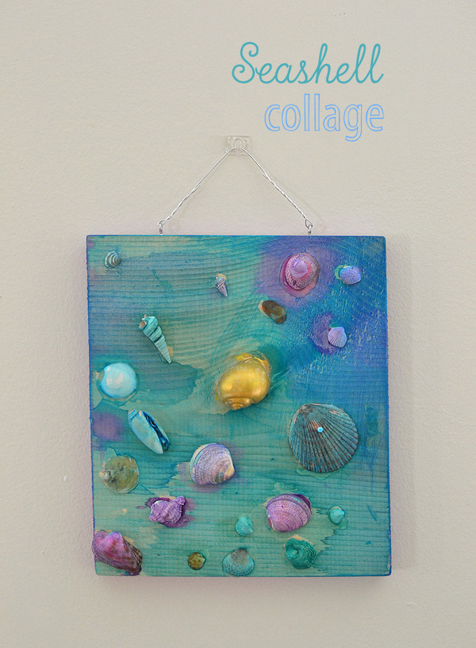 Kids paint shells and make a collage on wood.