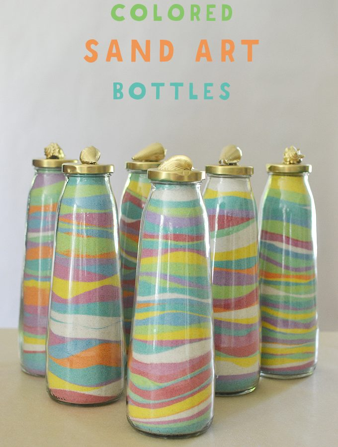 Sand Art Bottles with DIY Dyed Sand from the Beach