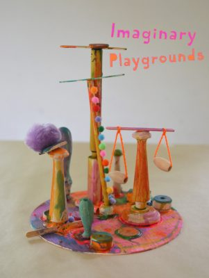 "Kids love making wooden sculptures with the prompt ""Imaginary Playgrounds"", a wonderful process art idea."
