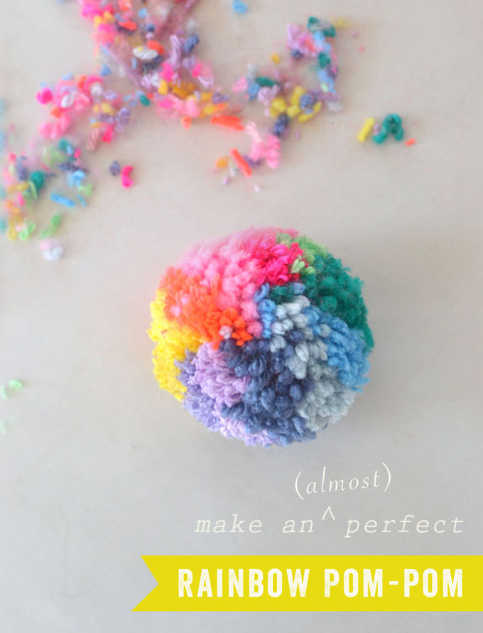Make this almost perfect rainbow pom-pom with the Clover pom-pom maker.