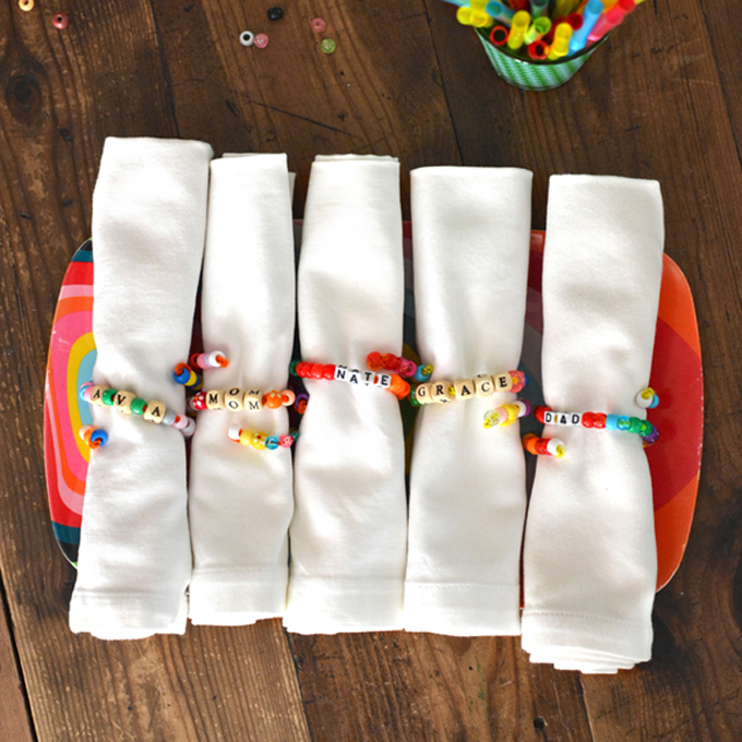 Kids can make these beaded napkin rings as a Thanksgiving Day craft.