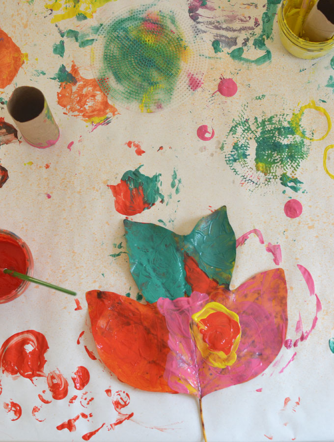 Leaf painting is a wonderful way to combine nature art with process art for kids.
